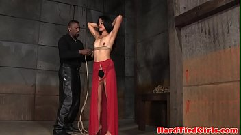 smalltitted asian tied up by black.