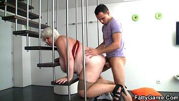 big tits blonde bbw is doggystyled.