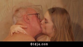 old man fucks young blonde masseuse cums in.