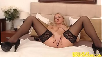 sexy blonde romanian girl strips and masturbates on.