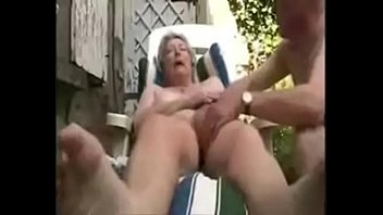 granny having fun in court yard..