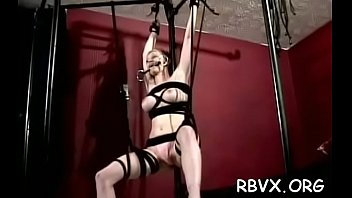 this bitch gets her taut pussy stimulated by ropes