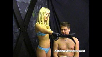 blue belle in leather gloves teases.