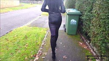 spying on hot brunette angie in miniskirt, long.
