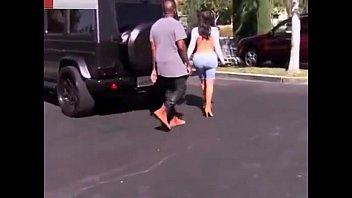 kim kardashian sexy of denim bermuda shorts. open-back.