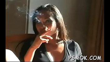 curvy babe smoking nude