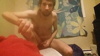 Horny man masturbating and fingers himself
