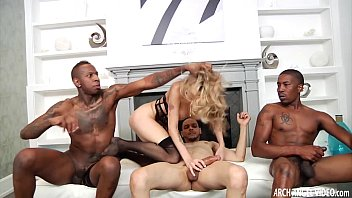 blonde slut anal gangbanged by hung.