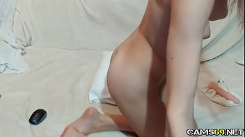 cute blonde daughter small tits pussy play on.