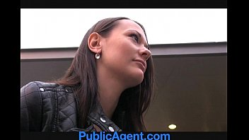 publicagent pretty brunette gets fucked in the middle.