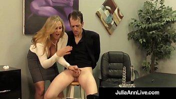adult award winner julia ann drains a cock.