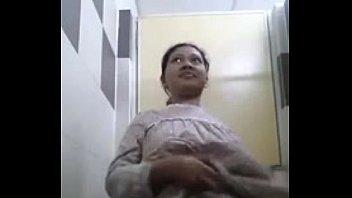 young delhi girl wearing nighty stripping in bathroom.