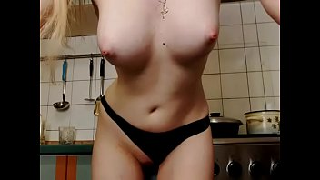 wow hot amateur slut showing pussy on cooking desk