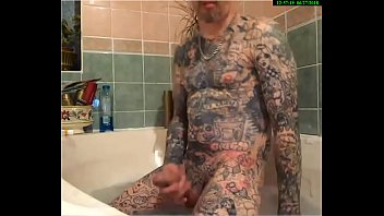 english tattooed sexy guy playing with his big.