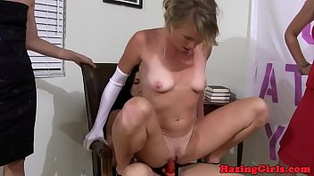 college lesbian rides strapon during hazing