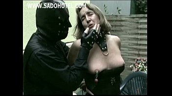 horny older slave show tits and got clamps.