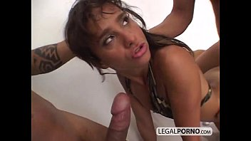 horny brunette fucked by two huge.