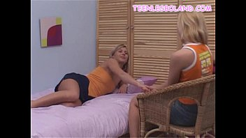 two blonde teens strip
