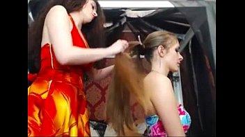 long hair, hair, hair play, hair brushing -.