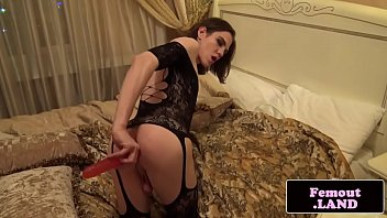 solo femboy spreads and toys her.