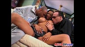busty ebony slut being double penetrated