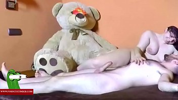 he gives her a big teddy bear and.
