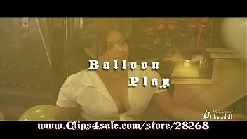 anita mann blowing up and sucking balloons in.