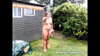 nude showering public in outdoor