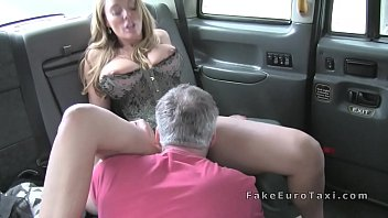 huge tits blonde in corset fucks in fake cab