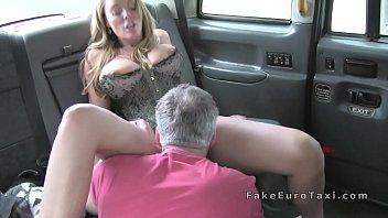 huge tits blonde in corset fucks in fake cab