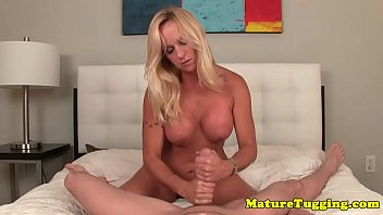 bigtitted blond mature jerking off hard.