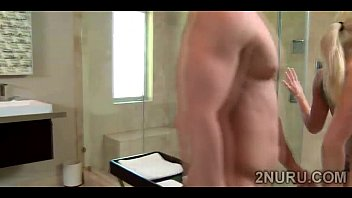 stunning blonde masseuse with huge boobs washes lucky.