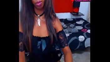 ebony black teen stripping in webcam.