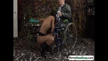 handicapped grandpa gets lucky with sexy.