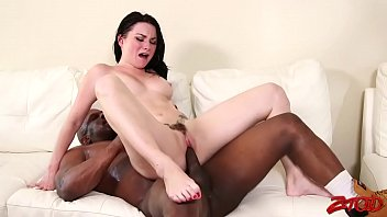 young brunette banged by black guy