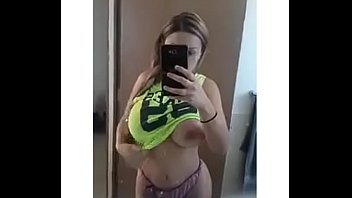 blonde teen shows boobs