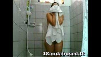 teen caught in the shower-hidden cam