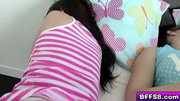 flirty teen bffs sleep over fuck.