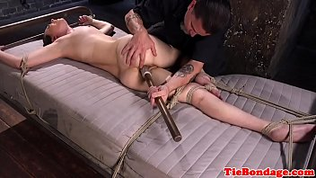 bound sub gagged and dildoed in.