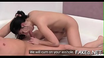 lovely dame thrills with soaked blowjob and wild.