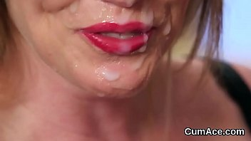 kinky stunner gets cum load on her face.