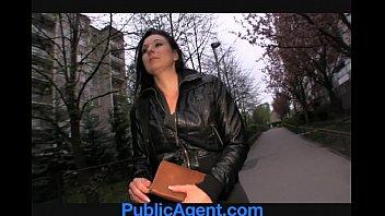 publicagent krystina bends over for a wallet full.