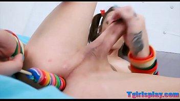 skinny teen tgirl jerks off her.