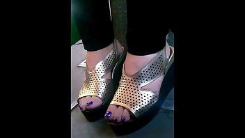 candid mature feet in bus closeup.