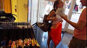 candid teen shopping hot spandex shorts