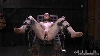 upside down playgirl gets her teats clipped during.