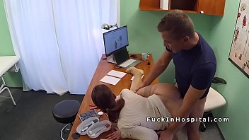 brunette patient gets doctors dick for.