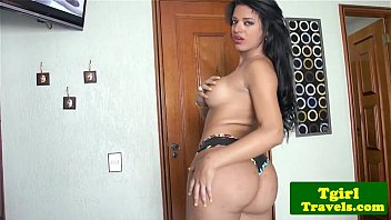 busty latina tgirl jerking cock until.