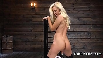 blonde in black stockings fucks machine