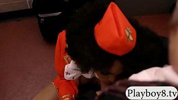 ebony stewardess banged in public toilet